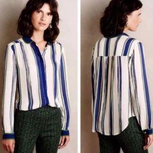 Maeve Long Sleeve Striped Button Down Shirt